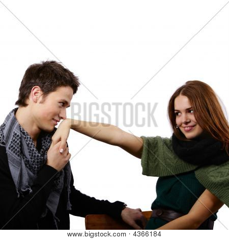 Handsome Boy Kissing A Beautiful Girl's Hand