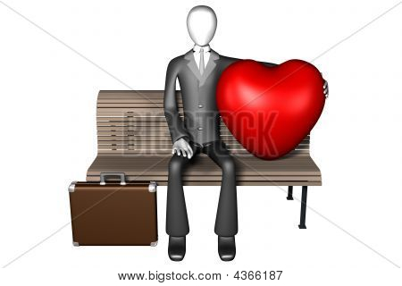 Business Man With Huge Heart