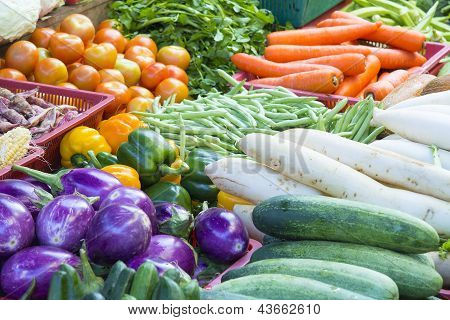 0.Vegetables Stand In Wet Market