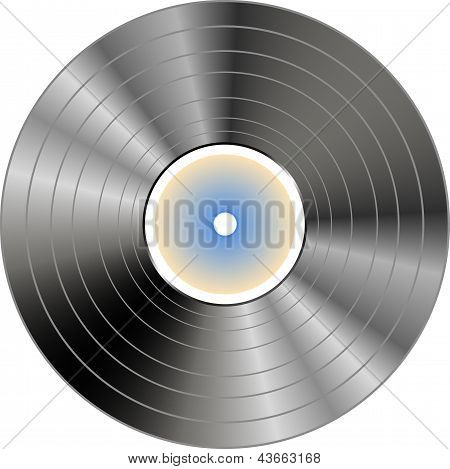 Vinyl Record With Blue Label Isolated, art illustration