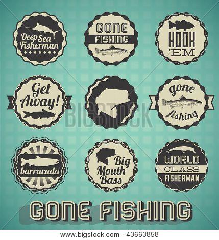 Vector Set: Vintage Gone Fishing Labels