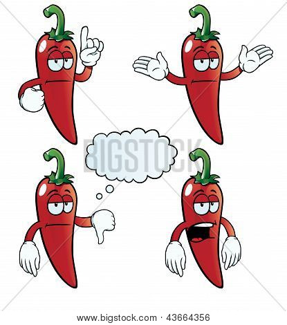 Bored chili pepper set