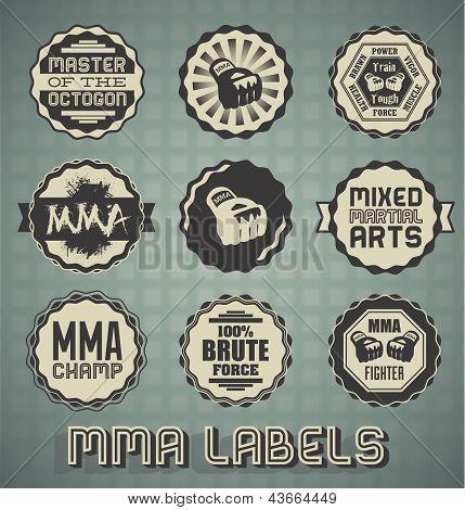 Vector Set: Vintage Mixed Martial Arts Labels
