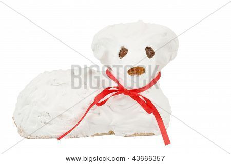 Easter Lamb With Powdered Sugar White Background