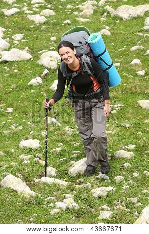 Hiker Tecking In Caucasus Mountains