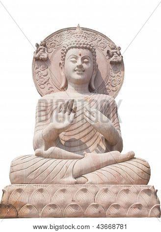 Buddha Statue Close Up Isolated Against White Background.