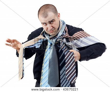 Angry Man Choosing The Perfect Necktie