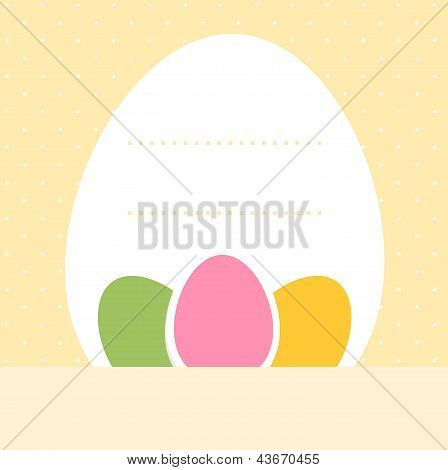 Yellow Dotted Easter Background With Eggs And Copyspace