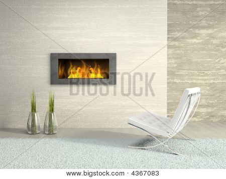 Part Of The Modern Interior With Fireplace