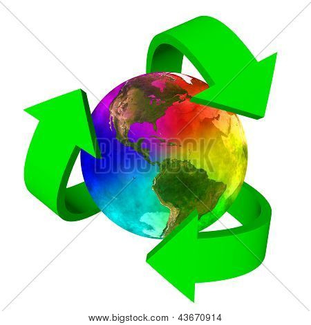 Eco symbol rainbow planet Earth - America