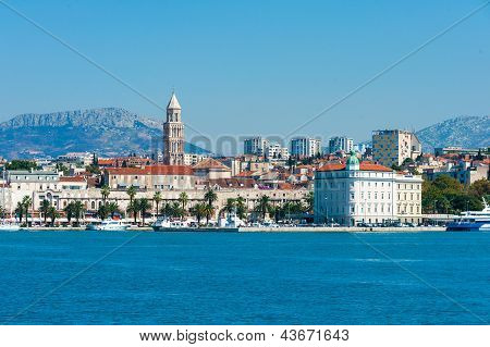 Skyline Of Split Downtown From The Open Sea