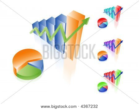 3D Vector Charts. Bar And Pie Diagrams. Set Of Different Colors. Financial Incoming Growth Concept.
