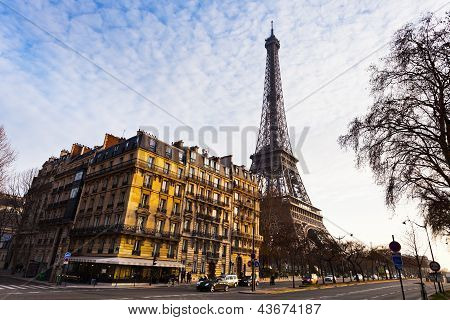 View Of Eiffel Tower From Quai Branly In Paris