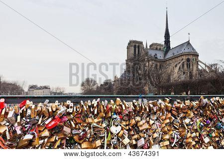 Pont De L'archeveche With Love Padlock In Paris