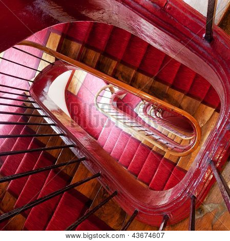 Wooden Spiral Steps In Old House