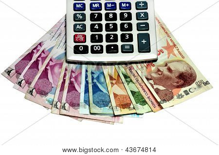 calculator and money isolated