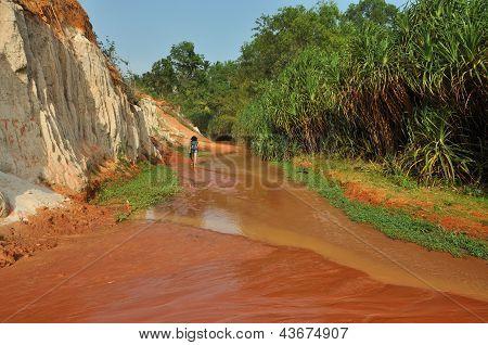 Red river between rocks and jungle, Mui Ne, Vietnam