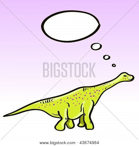 Prehistoric green dinosaur (diplodocus) character with a speech bubble, vector