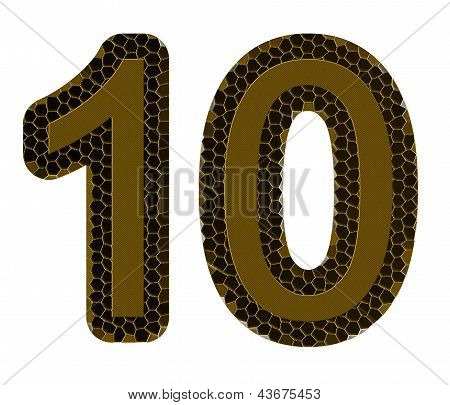 Number Ten On A White Background, It Is Isolated