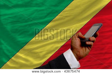 Cell Phone In Front  National Flag Of  Of Congo
