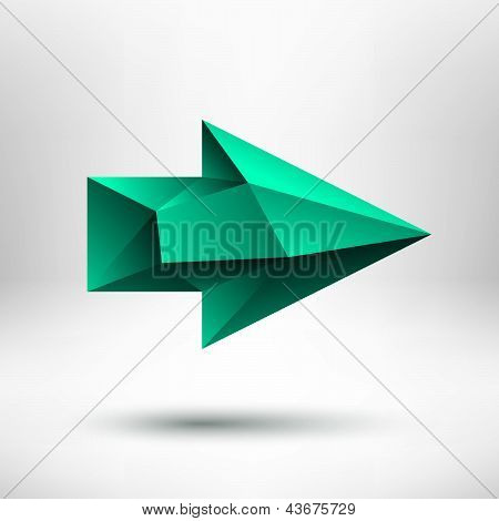 3d Green Right Arrow Sign with Light Background