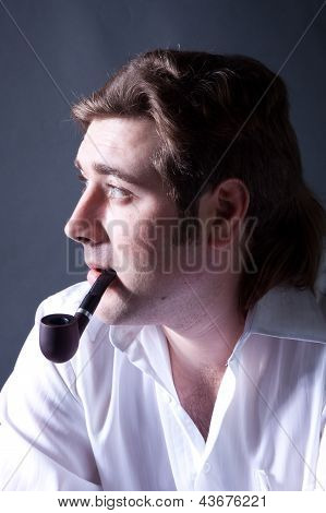 Artistic Dark Portrait L Man Smoking A Pipe