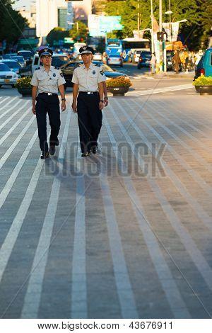 Young Korean Men Police Patrol Seoul Downtown