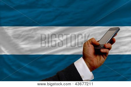 Cell Phone In Front  National Flag Of El Salvador