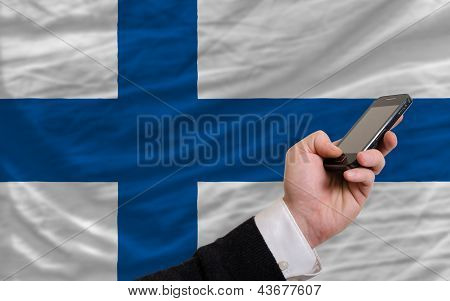 Cell Phone In Front  National Flag Of Finland