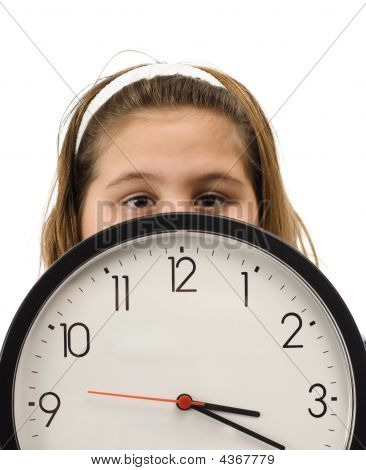 Girl Hiding Behind Clock