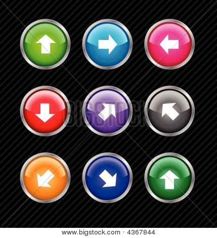 Collection Of Vector Colored Buttons With Arrows For Different Direction Use. Easy To Edit, Any Size