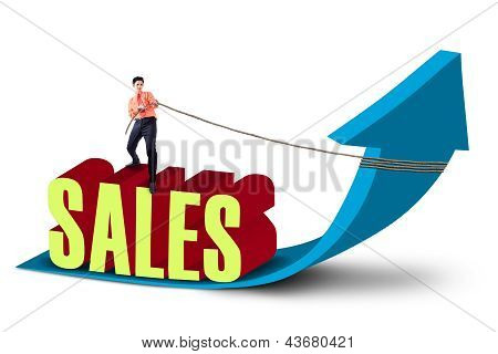 Businessman Pull Sales Profit Arrow Sign