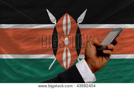 Cell Phone In Front  National Flag Of Kenya