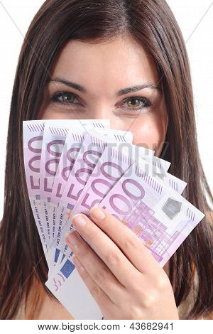 Beautiful Woman Smiling And Holding A Lot Of Five Hundred Euro Banknotes