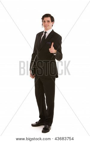Business Man Giving A Thumbs Up Gesture