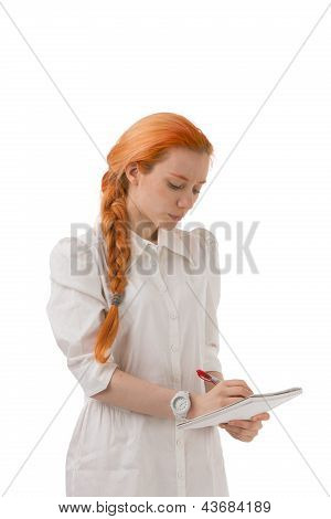 Attractive Redhead Woman With A Long Plait