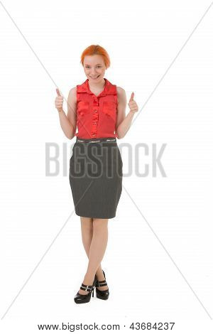 Happy Woman Giving A Double Thumbs Up