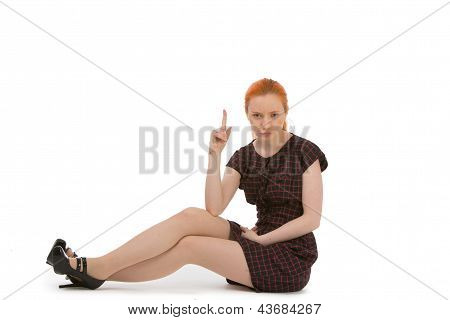 Woman Pointing Above Her Head