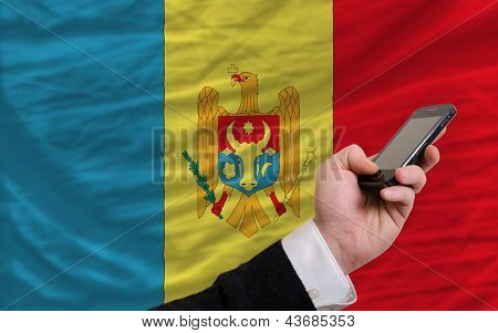 Cell Phone In Front  National Flag Of Moldova