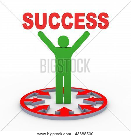 3D Man Holding Success