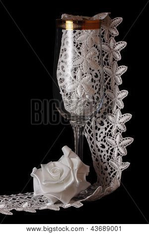 White Rose And Glass