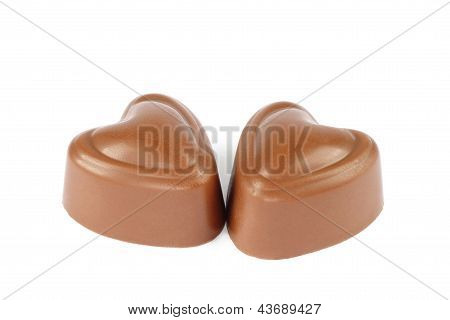 Two heart chocolate candies