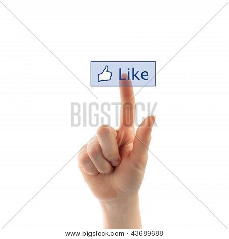 Hand pressing like button