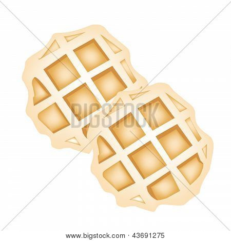 Two Baked Round Waffles