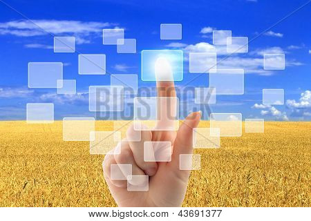 Woman hand pushing virtual icons
