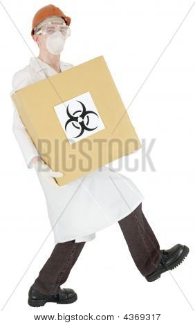 Man In Doctor's Smock And Biohazard