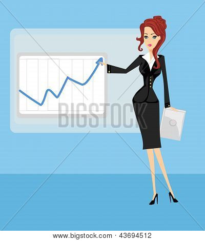 Cartoon Of A Business Woman Pointing To Rising Business Trends
