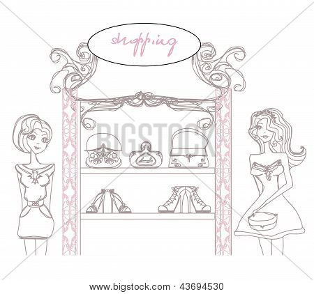 Abstract Fashion Girls Shopping - Illustration