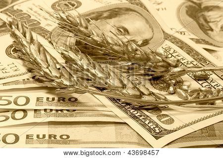 Golden Ears Of Wheat On The Dollar And Euro Banknotes, Sepia