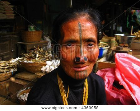 Stock photo : North East Indian Tribal Tattoo on Woman's Face